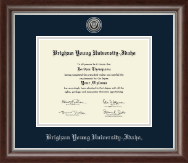 Brigham Young University Idaho Diploma Frame - Silver Engraved Medallion Diploma Frame in Devonshire