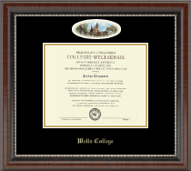 Wells College Diploma Frame - Campus Cameo Diploma Frame in Chateau