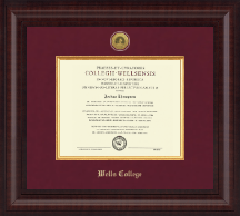 Wells College Diploma Frame - Presidential Gold Engraved Diploma Frame in Premier