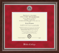 Wells College Diploma Frame - Silver Engraved Medallion Diploma Frame in Devonshire