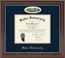 Baker University Diploma Frame - Campus Cameo Diploma Frame in Chateau