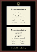 Elizabethtown College Diploma Frame - Double Diploma Frame in Kensit Gold