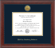 Phillips Academy Andover Diploma Frame - Gold Engraved Medallion Diploma Frame in Signature
