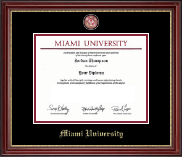 Miami University Diploma Frame - Brass Masterpiece Medallion Diploma Frame in Kensington Gold