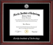 Florida Institute of Technology Diploma Frame - Silver Engraved Medallion Diploma Frame in Kensington Silver