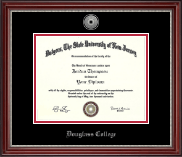 Rutgers University, The State University of New Jersey Diploma Frame - Silver Engraved Diploma Frame in Kensington Silver