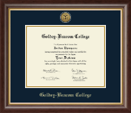 Goldey-Beacom College Diploma Frame - Gold Engraved Medallion Diploma Frame in Hampshire