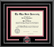 The Ohio State University Diploma Frame - Athletic O Spirit Medallion Diploma Frame in Onyx Silver
