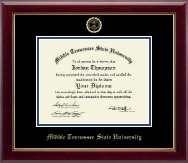 Middle Tennessee State University Diploma Frame - Gold Embossed Diploma Frame in Gallery