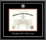 Oklahoma State University Diploma Frame - Silver Engraved Medallion Diploma Frame in Onyx Silver