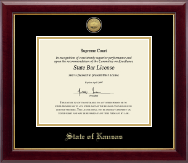 State of Kansas Certificate Frame - Gold Engraved Medallion Certificate Frame in Gallery