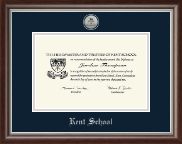 Kent School in Connecticut Diploma Frame - Silver Engraved Medallion Diploma Frame in Devonshire