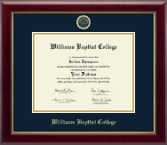 Williams Baptist College Diploma Frame - Gold Embossed Diploma Frame in Gallery
