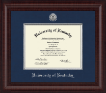 University of Kentucky Diploma Frame - Presidential Silver Engraved Diploma Frame in Premier