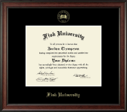 Fisk University Diploma Frame - Gold Embossed Diploma Frame in Studio