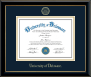 University of Delaware Diploma Frame - Gold Embossed Diploma Frame in Onyx Gold