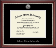 Athens State University Diploma Frame - Silver Engraved Medallion Diploma Frame in Kensington Silver