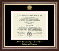 State University of New York - College at Oneonta Diploma Frame - Gold Engraved Medallion Diploma Frame in Hampshire