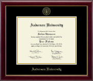 Anderson University in South Carolina Diploma Frame - Gold Embossed Diploma Frame in Gallery