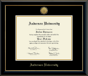 Anderson University in South Carolina Diploma Frame - Gold Engraved Diploma Frame in Onyx Gold