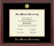 Des Moines University Diploma Frame - Gold Engraved Medallion Diploma Frame in Signature