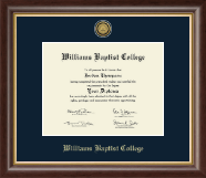 Williams Baptist College Diploma Frame - Gold Engraved Medallion Diploma Frame in Hampshire