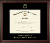 National Registry of Emergency Medical Technicians Certificate Frame - Gold Embossed Certificate Frame in Studio