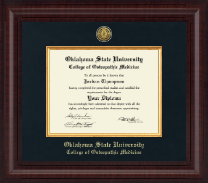 Oklahoma State University College of Osteopathic Medicine Diploma Frame - Presidential Gold Engraved Diploma Frame in Premier