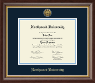 Northwood University in Michigan Diploma Frame - Gold Engraved Medallion Diploma Frame in Hampshire