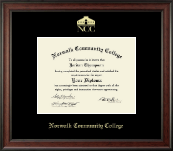 Norwalk Community College Diploma Frame - Gold Embossed Diploma Frame in Studio