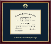 Norwalk Community College Diploma Frame - Gold Embossed Diploma Frame in Galleria