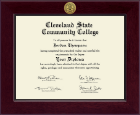 Cleveland State Community College Diploma Frame - Century Gold Engraved Diploma Frame in Cordova