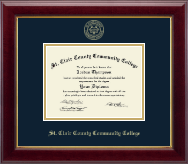 St. Clair County Community College Diploma Frame - Gold Embossed Diploma Frame in Gallery