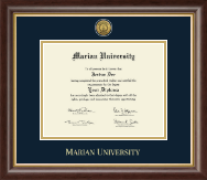 Marian University in Wisconsin Diploma Frame - Gold Engraved Medallion Diploma Frame in Hampshire