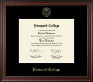 Broward College Diploma Frame - Gold Embossed Diploma Frame in Studio