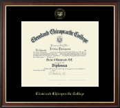 Cleveland Chiropractic College Diploma Frame - Gold Embossed Diploma Frame in Studio Gold