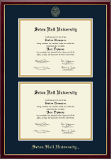 Seton Hall University Diploma Frame - Gold Embossed Double Diploma Frame in Galleria