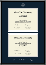 Seton Hall University Diploma Frame - Silver Embossed Double Diploma Frame in Onexa Silver