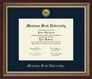 Montana State University Bozeman Diploma Frame - Gold Engraved Diploma Frame in Hampshire