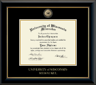 University of Wisconsin-Milwaukee Diploma Frame - Masterpiece Medallion Diploma Frame in Onyx Gold