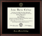 Anna Maria College Diploma Frame - Gold Embossed Diploma Frame in Studio