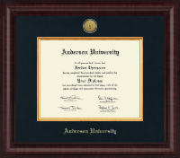 Anderson University in South Carolina Diploma Frame - Presidential Gold Engraved Diploma Frame in Premier