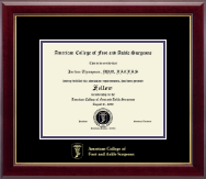 American College of Foot and Ankle Surgeons Certificate Frame - Gold Embossed Certificate Frame in Gallery
