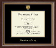 Westminster College in Missouri Diploma Frame - Gold Engraved Diploma Frame in Hampshire