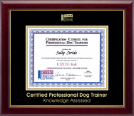 Certification Council for Professional Dog Trainers Certificate Frame - Gold Embossed Certificate Frame in Gallery