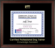 Certification Council for Professional Dog Trainers Certificate Frame - Gold Embossed Certificate Frame in Studio