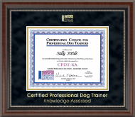 Certification Council for Professional Dog Trainers Certificate Frame - Gold Embossed Certificate Frame in Chateau