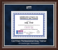 Certification Council for Professional Dog Trainers Certificate Frame - Silver Embossed Certificate Frame in Devonshire