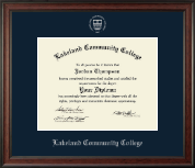 Lakeland Community College Diploma Frame - Silver Embossed Diploma Frame in Studio