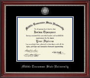 Middle Tennessee State University Diploma Frame - Silver Engraved Medallion Diploma Frame in Kensington Silver